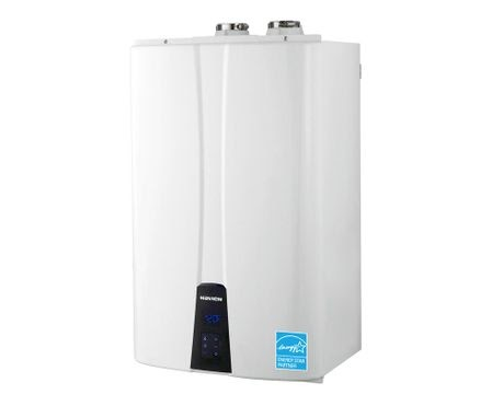 A white tankless water heater.